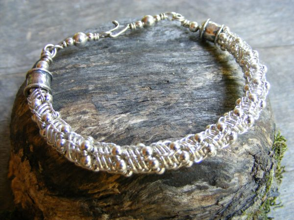 Woven Bracelet with Silver Beads