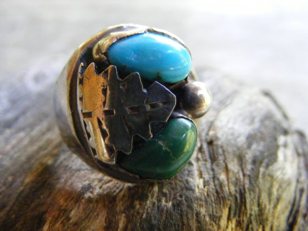 Navajo Green and Blue Turquoise Ring