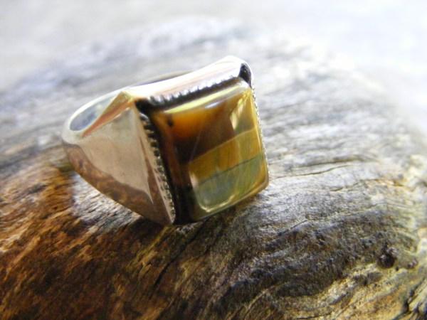 Square Tiger Eye Ring