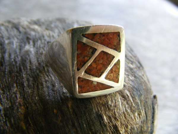 Red Coral Chip Inlay Ring