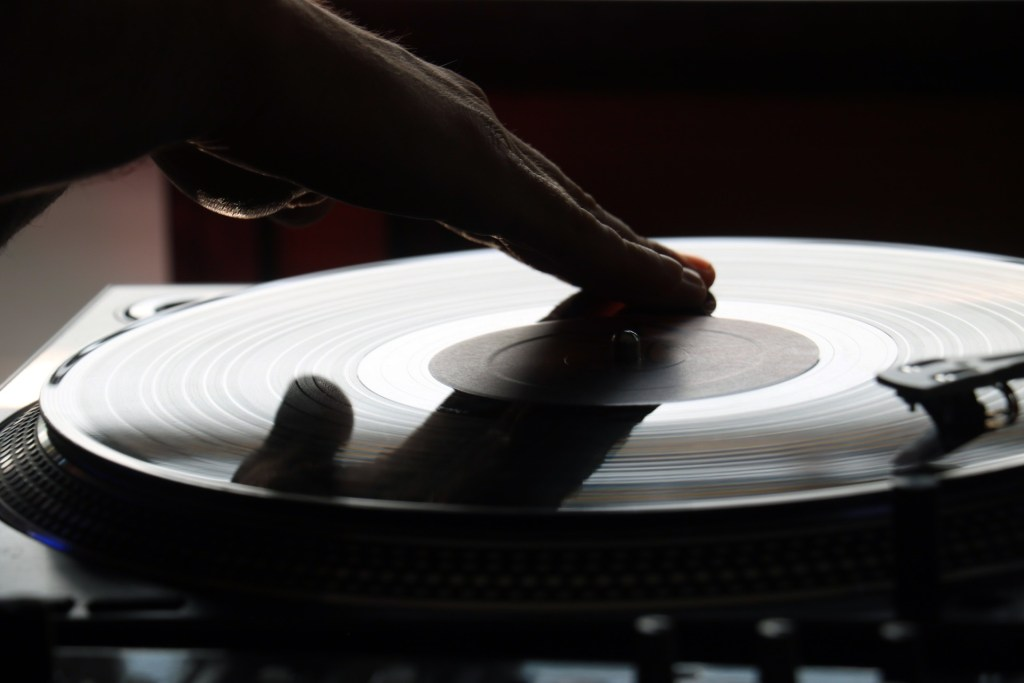 Vinyl record being scratched