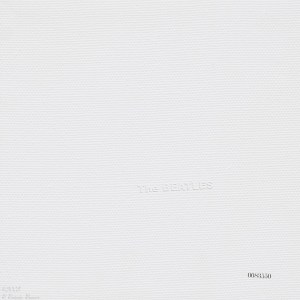 """The Beatles White Album. Look closely and you can see the raised lettering which reads """"The Beatles""""."""