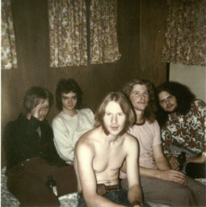 On the road with Silver Laughter 1974. L-R: Jon, Mark, Kim, Denny and Steve