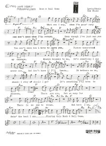 "Lead Sheet - ""Rock and Roll Game"" - Pg 1 1977"