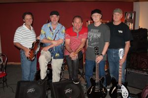 Silver Laughter 2014 - Mick (bass), Mark (guitar), Paul (drums), Kim (guitar and harmonica) and Jon (guitar) - everyone sings!