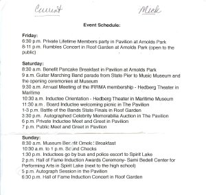 IRRMA Event Schedule for Inductees