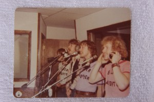 Silver Laughter in the studio 1976 - front to back: Kim, Jon, Ken and Mick