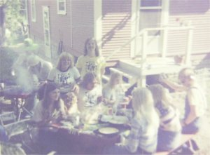 Picnic 1976 - Jon and Paul (below him) surrounded by our young ladies who hosted the BBQ
