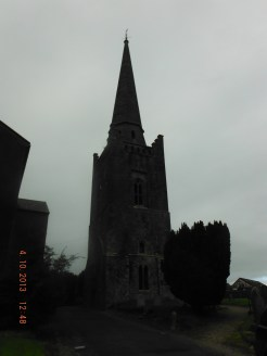 The bell tower is all that remains. Steeple added later