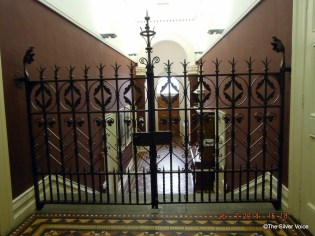 Gates on top of stairs leading to what was the Courthouse