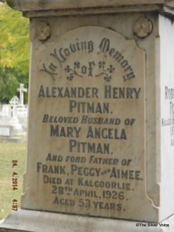 Grave of Detective. Sgt. Alexander Henry Pitman murdered April 1926
