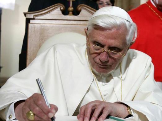 Benedict XVI writing