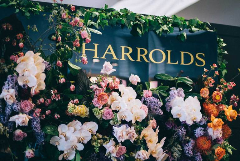 Harrolds Caulfield Cup spring racing carnival flower wall display