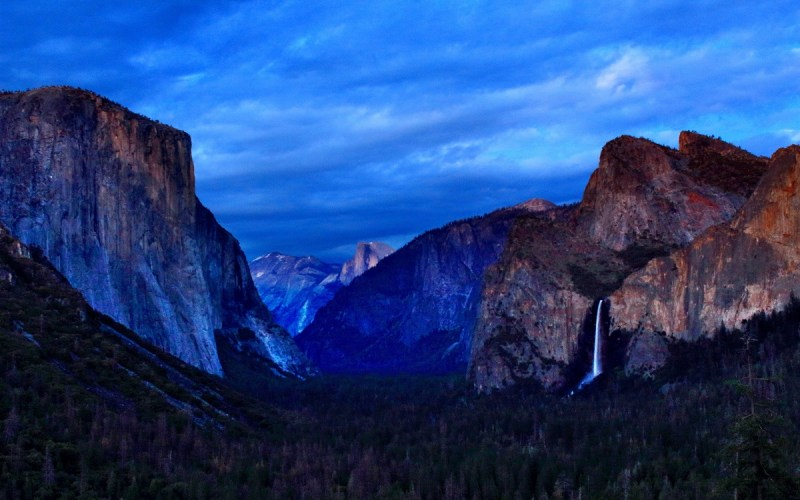 Tunnel View at Dusk, Yosemite Valley, Yosemite National Park, El Capitan, Bridalveil Fall, Clouds Rest, Yosemite National Park