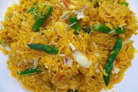 saffron rice with crab & asparagus featured