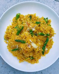 saffron rice with crab and asparagus