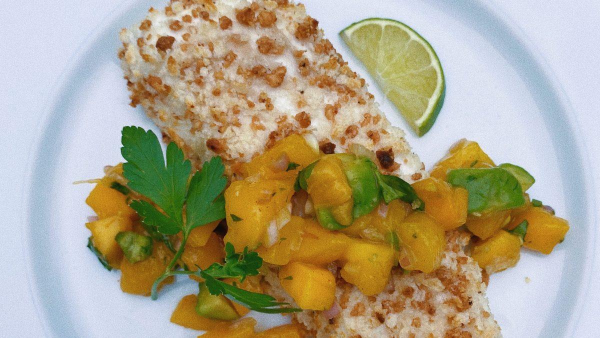 macadamia crusted halibut with mango salsa featured