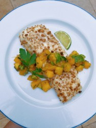 macadamia crusted halibut with mango salsa