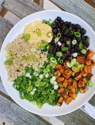 vegan protein bowl with spicy cashew dressing