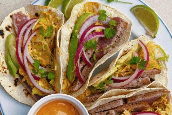 spicy tuna steak tacos featured