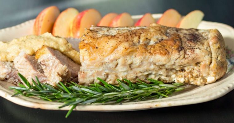 Crockpot Pork Loin with Rosemary Applesauce