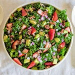 Kale Salad with Strawberry Balsamic Dressing.