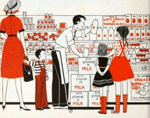 Well, this is about the cutest shopping picture ever. Thanks, public domain images!