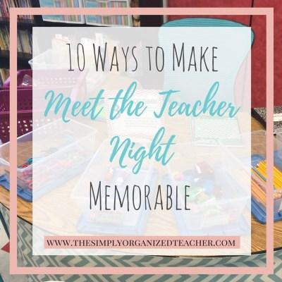 10 Meet the Teacher Night Activities