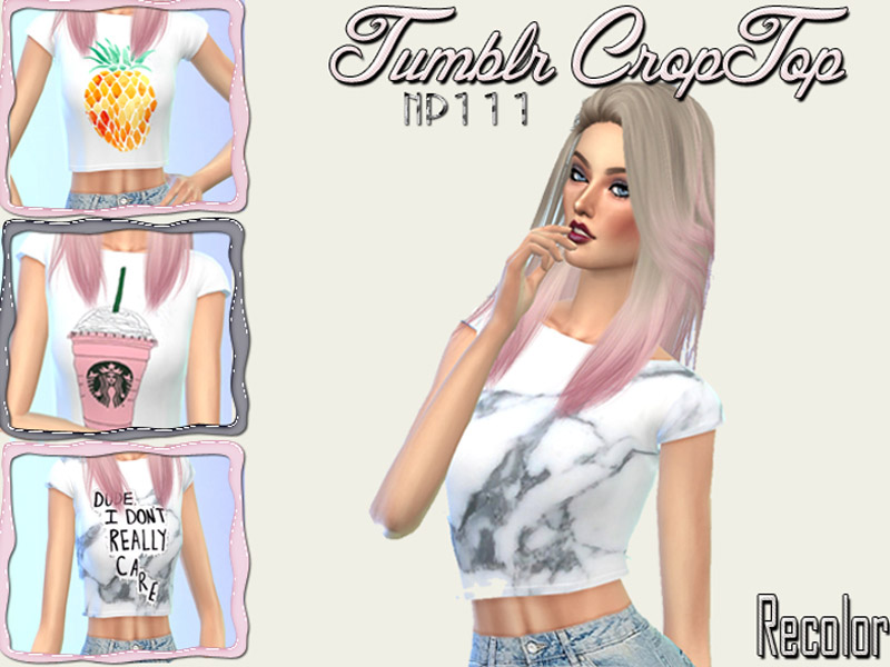 Tumblr Croptop Recolor - mesh needed - The Sims 4 Catalog