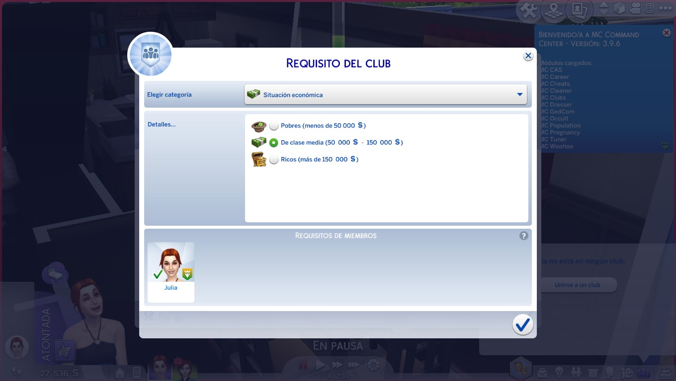 Higher money requeriment for join to Clubs - The Sims 4 Catalog