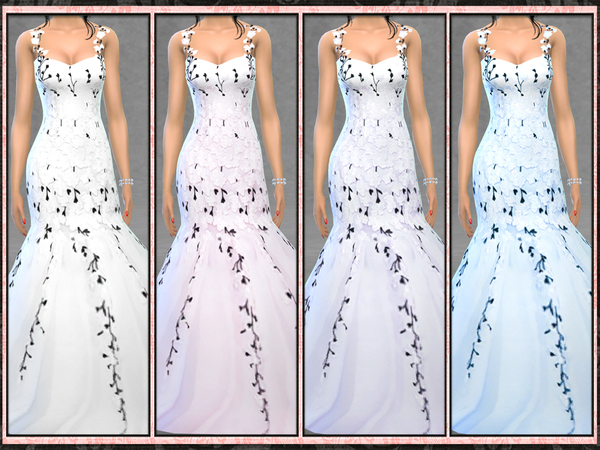 Five5Cats' Bridal Blush Floral Mermaid Gown New Mesh