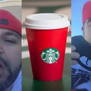 Starbucks Christmas Cup Idiot with a gun