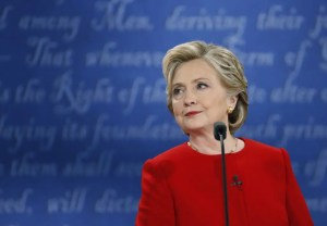 Democratic U.S. presidential nominee Hillary Clinton looks on during her first presidential debate against Republican U.S. presidential nominee Donald Trump (not shown) at Hofstra University in Hempstead, New York, U.S., September 26, 2016. REUTERS/Brian Snyder - RTSPKF6