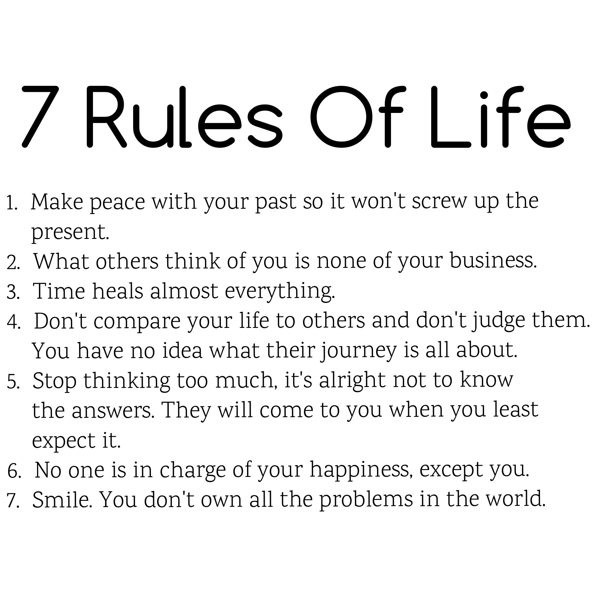 7 rules on life