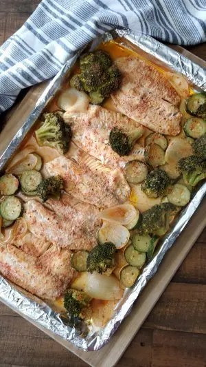 healthy sheet pan tilapia with vegetables