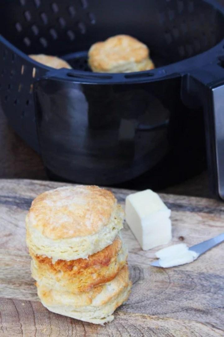 Homemade Air Fryer Buttermilk Biscuits made from Scratch