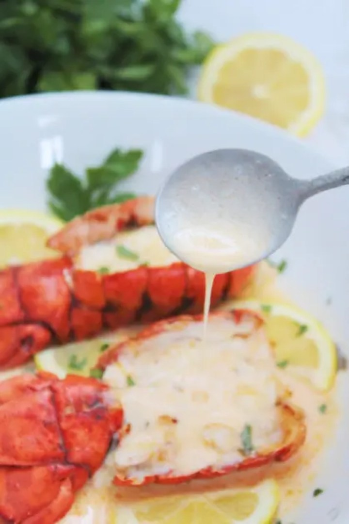 Air Fryer Lobster Tails with Garlic Parmesan White Wine Sauce