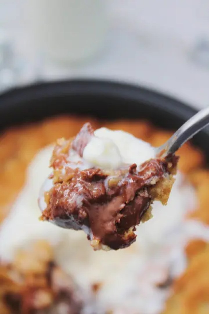 A Giant Scoop of Air Fryer Pizookie with Ice Cream
