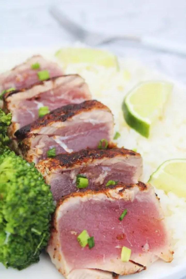 Serving tuna fish steaks