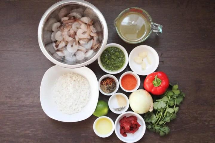 Ingredients for asopado de camarones