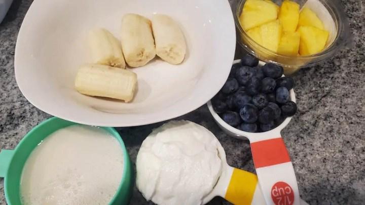 Ingredients including greek yogurt and almond milk