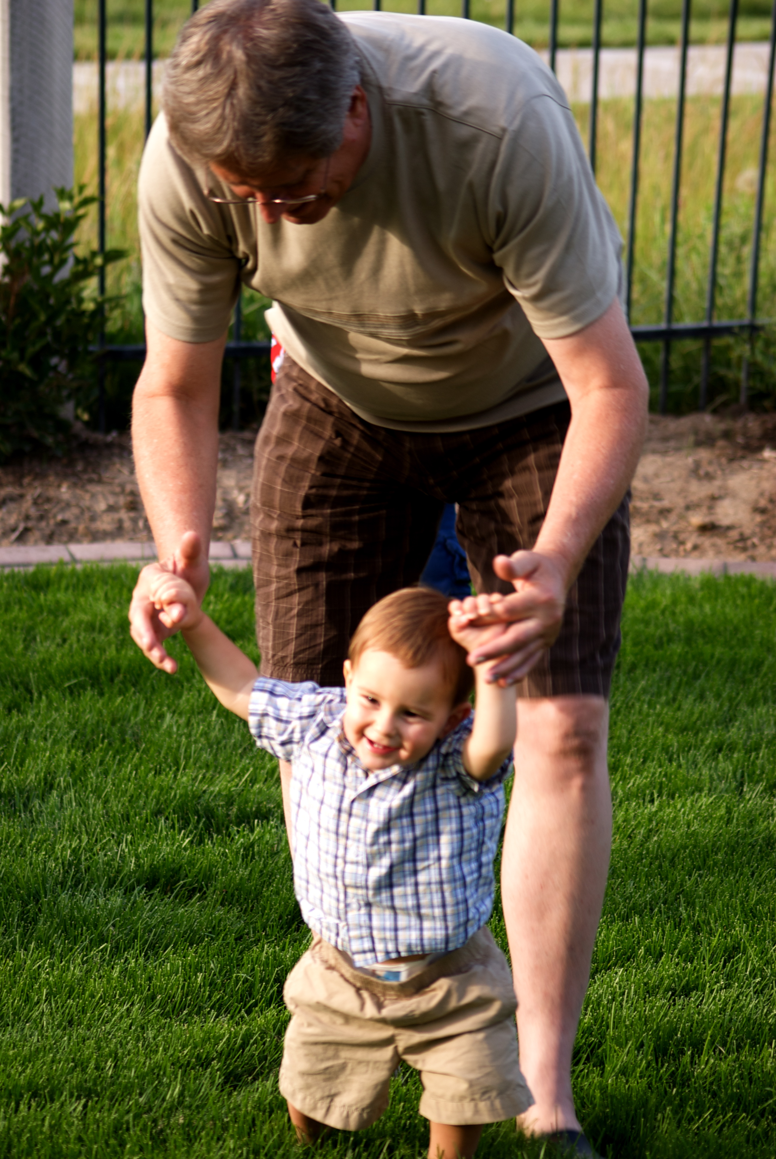 Learnin' to walk with GramPa!