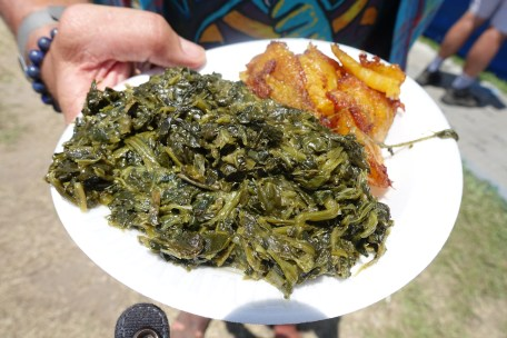 fried plantains and greens