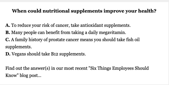 Six Things Employees Should Know About Nutritional Supplements – Courtesy of Quizzify