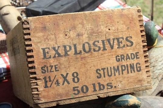 box of explosives TNT dynamite