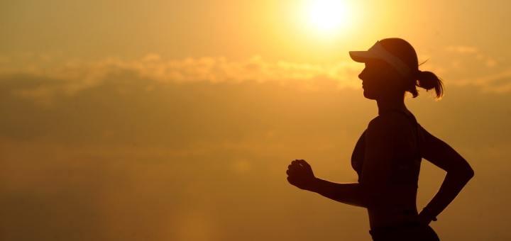runner running sunset clouds