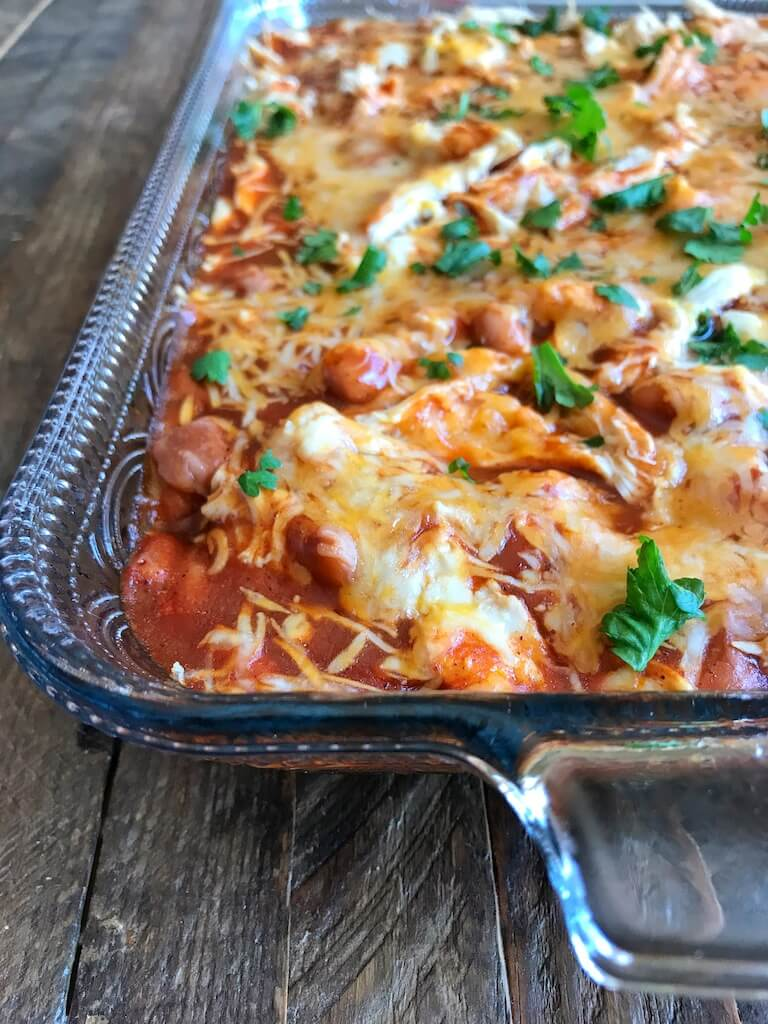 Chicken Tamale Bake Finished out of the oven with chopped cilantro
