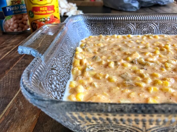 cornbread Ingredients in a baking dish