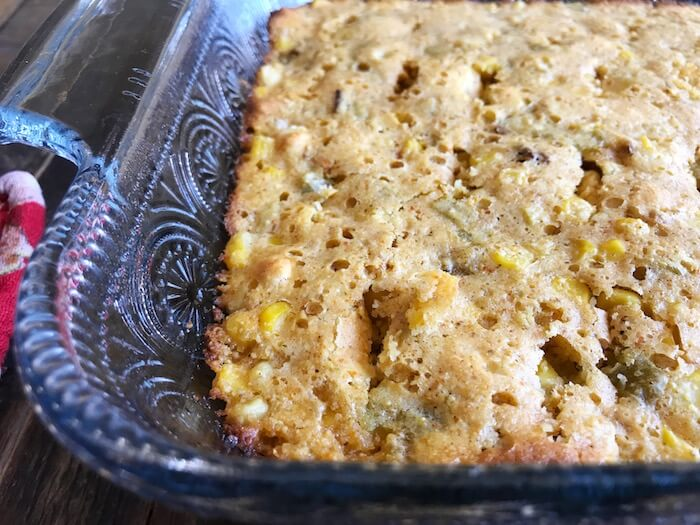 cornbread after being pulled from the oven