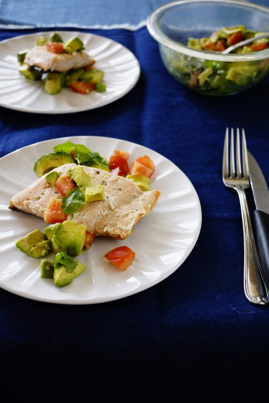 High Protein Dinner -Salmon with Avocado